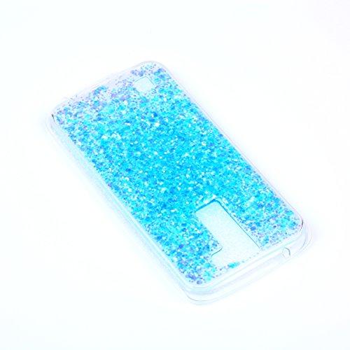 LG K7/K8 Custodia, Cover per LG K7/K8, LG K7 / LG K8 Custodia Silicone, JAWSEU Moda Stile Lusso Cristallo di Bling Brillante Sparkle Glitter Custodia per LG K7 K8 Back Cover Case Ultra Sottile Flessib Bling Blu