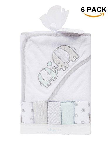 ataya Baby Badetuch mit Kapuze Waschlappen Set, Lovely Tier-Stickerei Muster, 5 + 1 Geschenk Pack (elephant)