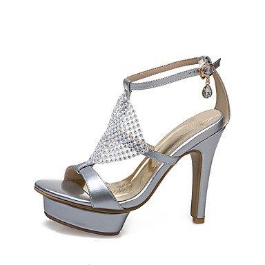 LvYuan Sandali-Formale Casual Serata e festa-Altro-A stiletto-PU (Poliuretano)-Bianco Argento Tessuto almond Silver