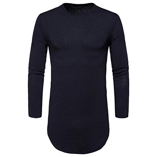 Btruely Herren T-Shirt Casual Bluse Junge T-Shirt Männer Langarm Shirt V-Ausschnitt Top Slim Fit Hemden Herren (S, Schwarz)