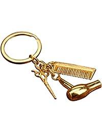 Dosige 1 Piezas Llavero aleación secador de pelo tijeras peine colgantes suministros de peluquería Personalidad de la Moda Llavero Creativo Llavero Llavero colgante Dorado