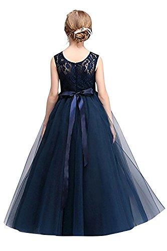 MisShow- Mädchen Ärmellos Spitzen Tüll Abendkleid Festkleid Blau Gr.130