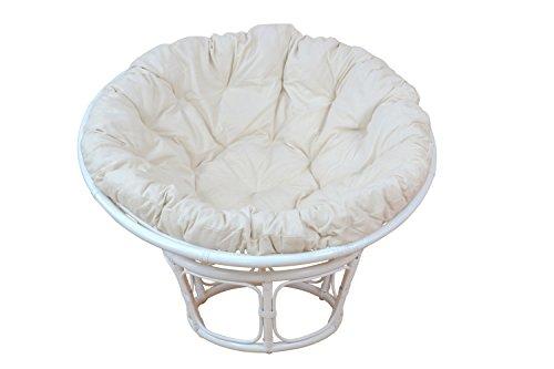 Papasansessel aus Rattan weiß 100 cm