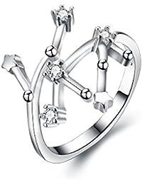 Anillo ajustable de plata de ley 925 Clearine, para mujer, circonitas cúbicas con diseño de las constelaciones astrológicas de los 12 signos del zodiaco