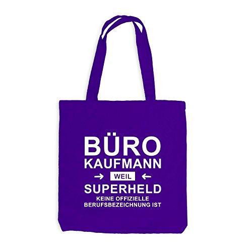 Jutebeutel - Bürokaufmann Superheld - Hero Beruf Violett