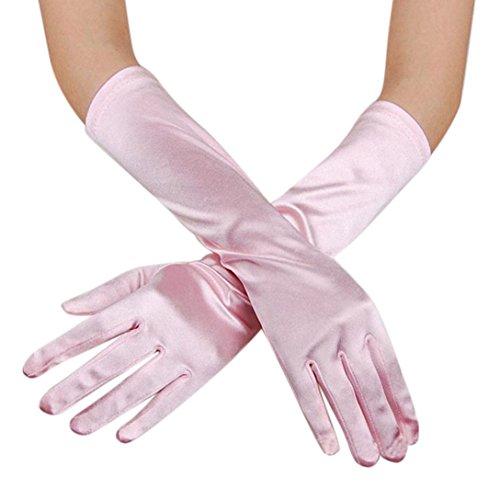 JIANGFU Womens Satin lange Handschuhe Oper Hochzeit Braut Abend Party Prom Handschuhe, Brauthandschuhe Hochzeitskleid Handschuhe zeigen Bankett Spaß Handschuhe multicolor (PInk) (Prom Spa)