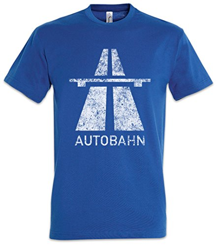Autobahn Herren T-Shirt Electro Pop Kraftwerk Synthie 80s Wave Elektro Techno Acid House Indie Sign Schild Road Highway A German Deutschland Brücke