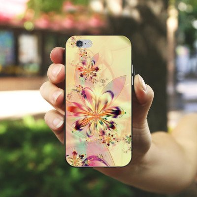 Apple iPhone X Silikon Hülle Case Schutzhülle Blumen Muster Abstrakt Silikon Case schwarz / weiß