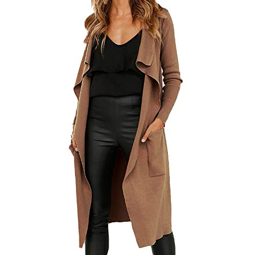 BaZhaHei Damen Mantel Frauen Langarm Leder Open Front Short Cardigan Anzug Jacke Solid Long Coat Tasche Einfarbig Revers Faux Wildleder Strickjacke Mantel -