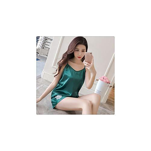 FJLOKE& Women Cami Top Pajama Sets Nights Suit Sleepwear Sleeveless Strap Nightwear Set Green L