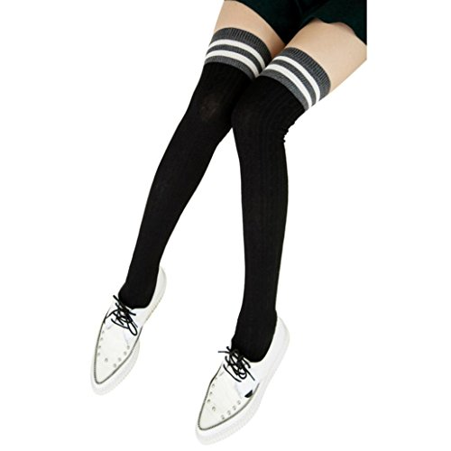 Women Knee High Socks ,Morwind Knitted Triple Striped Long Boot Thigh High Socks,Over the Knee Striped Socks