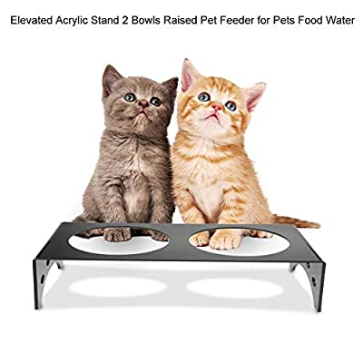 SOULONG Elevated Raised Pet Feeder, Elevated Acrylic Pet Feeder Stand 2 Bowls Raised Pet Feeder for Cats and Dogs Food Water 35×17×13cm by SOULONG