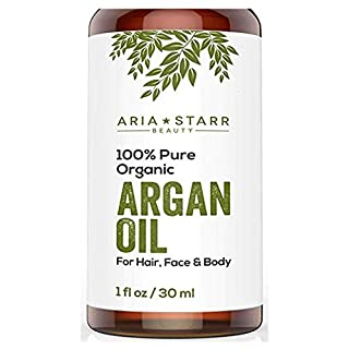 Aria Starr Beauty ORGANIC Argan Oil For Hair, Skin, Face, Nails, Beard & Cuticles - Best 100% Pure Moroccan Anti Aging, Anti Wrinkle Beauty Secret, EcoCert Certified Cold Pressed Moisturizer