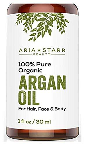 Huile d'Argan BIO Aria Starr Beauty pour cheveux, peau, visage, ongles, barbe et cuticules - Le Meilleur anti-âge marocain pur à 100%, secret de beauté anti-rides, hydratant 1oz.