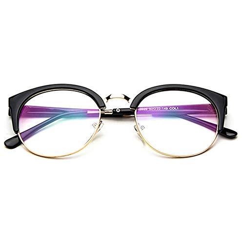 Gaodaweian Unisex Vintage Brille Horn Umrandeten Nerd Metall Brillen Optische Brille Half Frame Brille für Frau und Mann (Color : Multi-Colored)