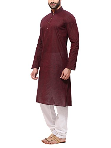 RG Designers Men's Handloom Brown Kurta Pyjama