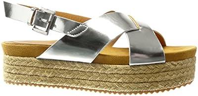 Angkorly - Zapatillas de Moda Sandalias alpargatas zapatillas de plataforma mujer tanga Hebilla Talón Plataforma 5 CM - Plata