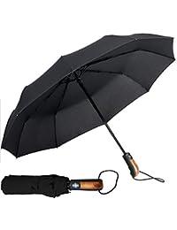 Parapluie Pliant, Ouverture et Fermeture Automatique | avec 10 Baleines Renforcé, Résistant au Vent | Teflon 190T Canopy 140km/h | Parapluie de Voyage pour Homme et Femme