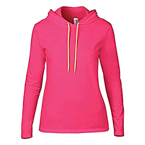 Navy Blue Jacke Hot (Anvil Damen Modern Kapuzenpullover Gr. Large, Hot Pink/ Neon Yellow)