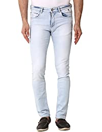 Kozzak Light Blue Slim Fit Stretchable Jeans For Men