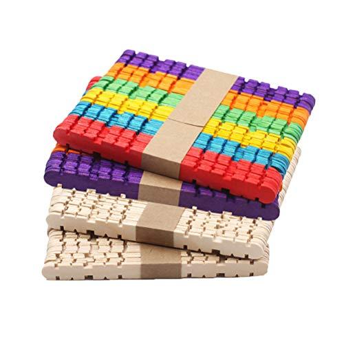 SUPVOX 200pcs farbiger Handwerks-Stock, Zahn- und hölzernes Handwerk haftet die bunten Eis am Stiel-Eiscreme-Stöcke, die für DIY benutzt werden