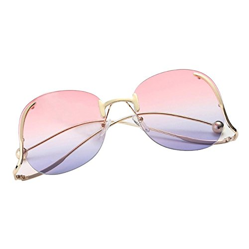 AOLVO 2018 Gafas de Sol de Gran Tamaño para Mujer, Gafas de Sol Redondas de Ojo de Gato, Marco de Metal, Elija su Variación Pink to Purple