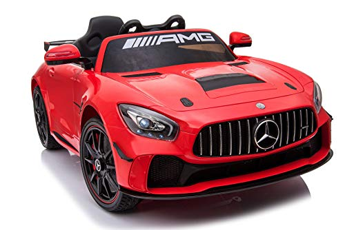 Fahrt mit dem Auto Mercedes-Benz GT4, rot, original lizenziert, batteriebetrieben, öffnende Türen, 2X Motor, 12 V-Batterie, 2,4 GHz-Fernbedienung, weiche Eva-Räder ()