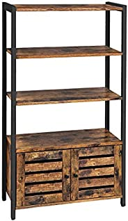 VASAGLE LOWELL Bookshelf, Storage Cabinet with 3 Shelves and 2 Louvered Doors, Bookcase in Living Room, Study,