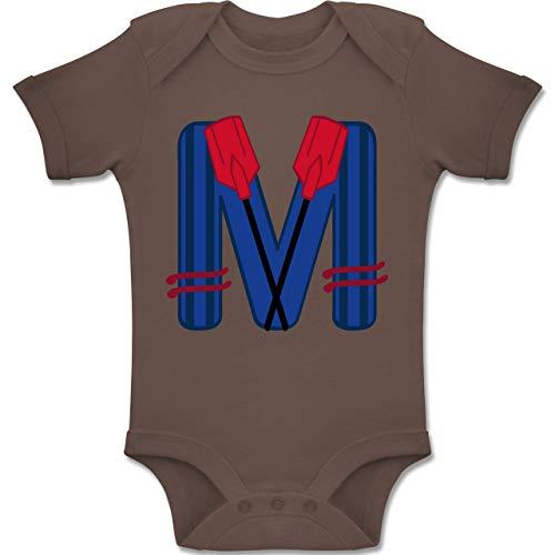Anfangsbuchstaben Baby - M Schifffahrt - 6-12 Monate - Braun - BZ10 - Baby Body Kurzarm Jungen Mädchen