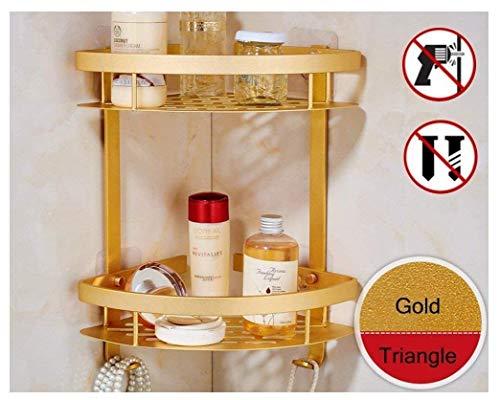 Dick selbstklebend 2-tier Eck-Ablage, Aluminium-Speicher-Regal-Korb-Organisator mit Haken Badezimmer Zubehör, Aluminum, gold, Triangular (Badezimmer-speicher-körbe)