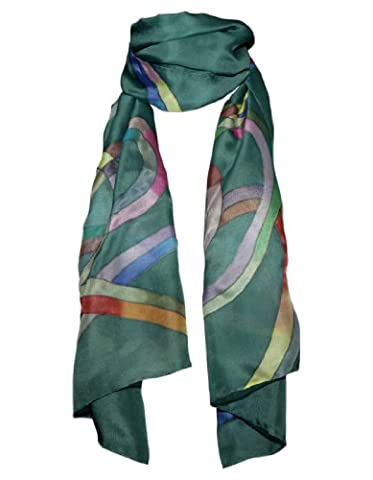 Hand-Painted 100% Silk Scarf - Colourful Ribbons