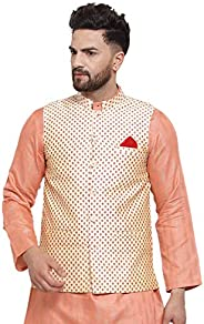NEUDIS by Dhrohar Jacquard Cotton Printed Off white Nehru Jacket/Waistcoat For Men - Off White