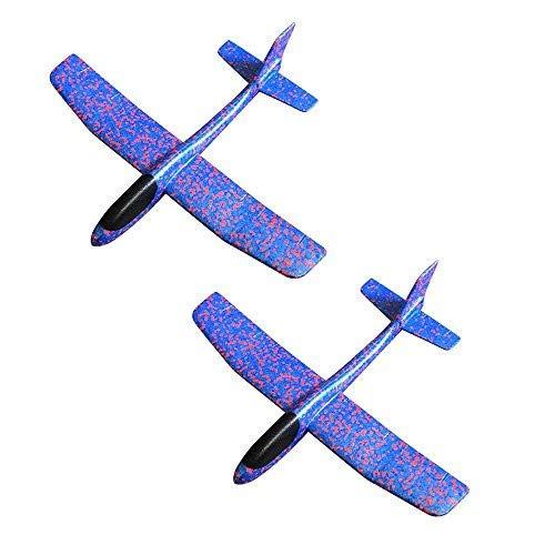 ONEGenug 2pcs Kinder Flugzeug Modell Spielzeug Upgrade 2 Modus Outdoor Wurfgleiter Segelflugzeug Glider ca.49cm