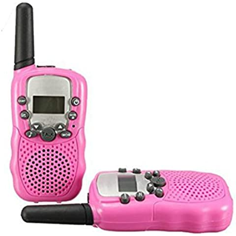 Zulux Conjunto de 2 piezas 22 Canal Doble de walkie-talkie 2-Way Radio 3 kil¨®metros de alcance - infantil radios de dos v¨ªas para los ni?os de regalo (Rosado)