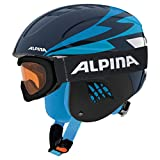 ALPINA Kinder Skihelm Carat mit Skibrille Ruby S SH Set Marine (300) M