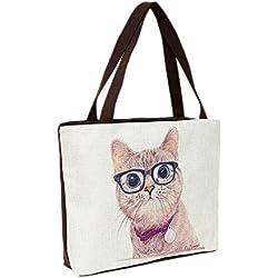 Bolsa de playa 46 x 32 x 10 cm motivo fashion gato color natural-yute shopper bolsa de hombro estilo de segunda mano