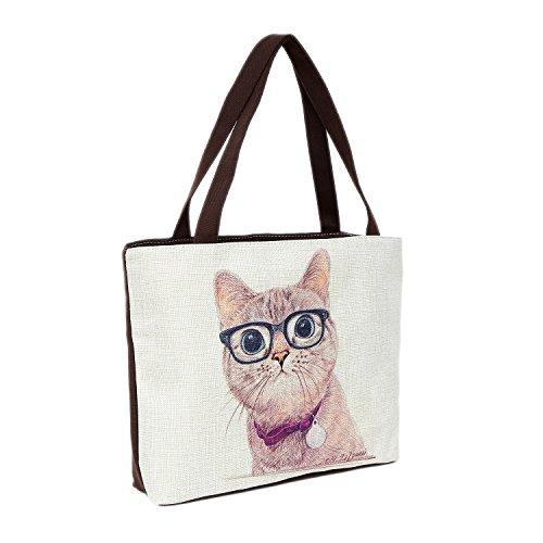 Strandtasche 46 x 32 x 10 cm Motiv Fashion Katze naturfarben-Jute Shopper Schultertasche Vintage Stil (Motiv Weste Baumwolle)