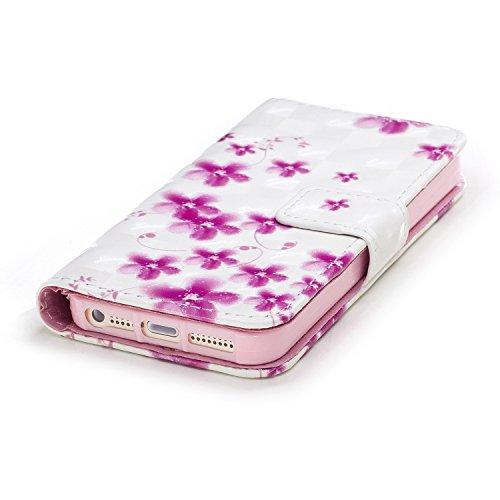 iPhone SE Hülle, iPhone 5S Hülle, iPhone 5 Hülle, iPhone SE/5S/5 Hülle Muster, iPhone SE/5S/5 Leder Wallet Tasche Brieftasche Schutzhülle, BONROY 3D Bunte Retro Muster Ledertasche Elegant Handytasche  Kirschblüten