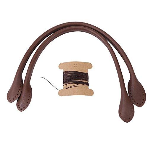 2PCS Beutel-Bügel, weicher lederner Schulter-Handtaschen-Griff, Gepäckersatz Beutel-Zusätze für Handzusätze der Dame DIY(Braun)