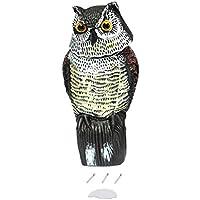 Señuelo Realista del búho con Cabeza giratoria Repelente de protección de jardín espantapájaros espantapájaros Caza Caza para Cazador - Multicolor