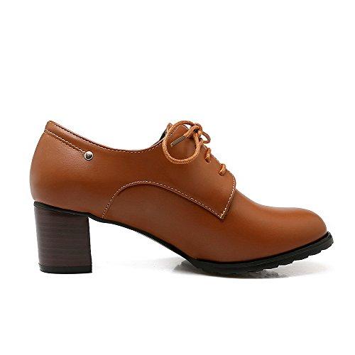 VogueZone009 Femme Mosaïque Matière Souple Lacet Rond Chaussures Légeres Brun