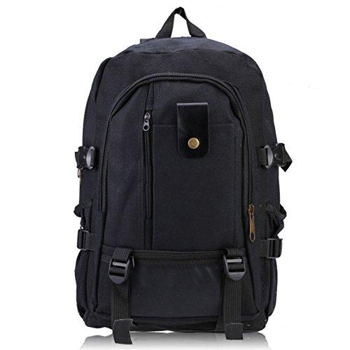 Hombre mochila - SODIAL(R)Hombre retro ocio lona mochila Negro