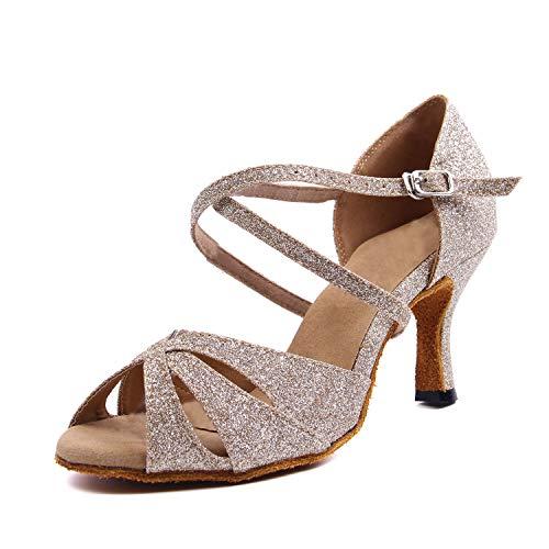 SUKUTU Zapatos de Baile Profesional para Mujer Salón de Baile para Mujer Brillo Latino Tango Salsa Correa Cruzada Zapatos de Baile de tacón Alto para Interiores