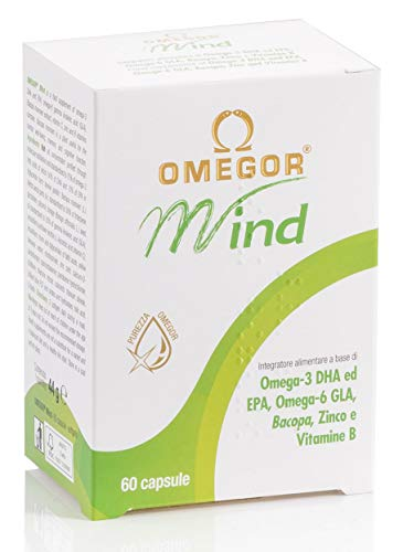 OMEGOR® Mind | Integratore per la memoria e le funzioni congnitive | Con Omega 3 DHA ed estratto di Bacopa Monnieri, olio di borragine, zinco e vitamine B | Distillazione molecolare, forma TG | 60 cap