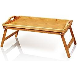 Lumaland bandeja de bambú para el desayuno en la cama con base en color natural y pies plegables, ca. 50 x 31 x 23 cm