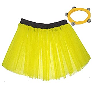 A-Express® Neon Yellow Tutu Skirt 1x Shamballa Fits UK Size (10 to 18)