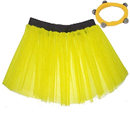 A-Express Tütü Rock Neon Tutu Netz Tüllrock 3 Lagen Petticoat für verrücktes Kleid Party Kostüm - (Gelb, Größe 46-54) (Gelb Tutu Kostüm)