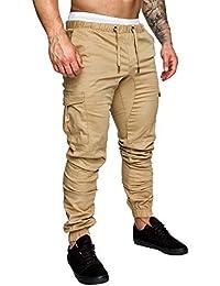 UJUNAOR Pantaloni Uomo Moda Cargo con Coulisse E Tasche Laterali Trousers Sport Pants Elastici Casuale Maschi Primavera Autunno 2019,M,L,XL,XXL,XXXL