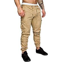 509236e848d AMUSTER Pantalon Homme Sarouel Grande Taille en Coton et Lin à Rayures  colorées pour Hommes Pantalons