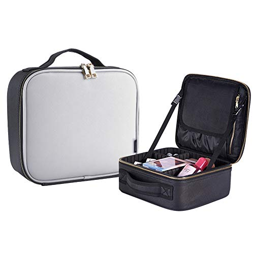 Borsa Cosmetica, Portable Travel Cosmetici Case,10,23' x 9'x 4,92'Borsa per Trucco con Divisore Regolabile Contenitore e Multi-Funzionale Antiurto(Bianco e Nero)